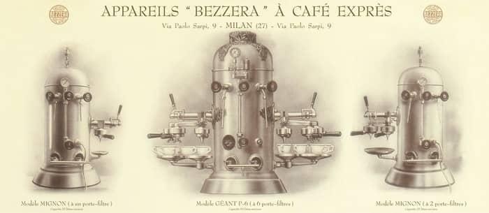 Bản vẽ thể hiện thiết kế máy pha Espresso của Luigi Bezzera